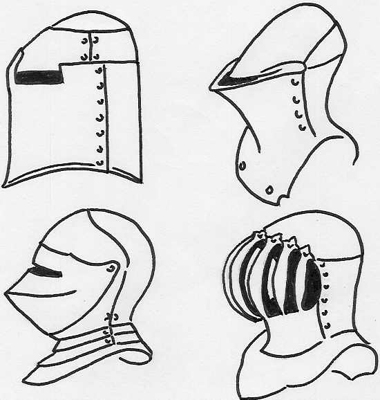 Examples of helm used in heraldry