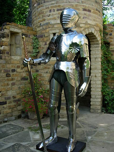 The armour from Project 1 in the courtyard of the folly